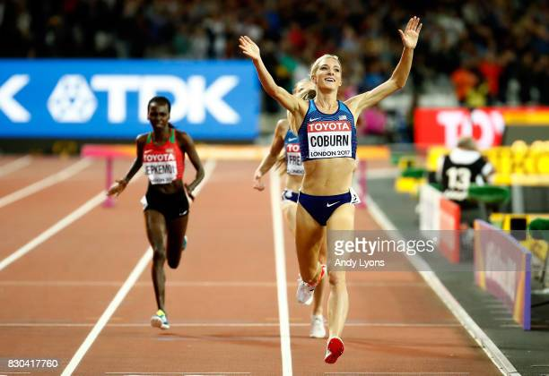 Emma Coburn of the United States celebrates as she crosses the finishline to win gold in the Women's 3000 metres Steeplechase final during day eight...