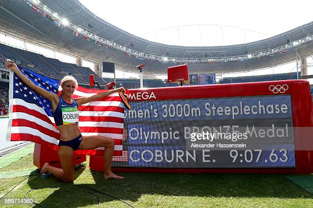 Emma Coburn of the United States celebrates placing third in the Women's 3000m Steeplechase final on Day 10 of the Rio 2016 Olympic Games at the...