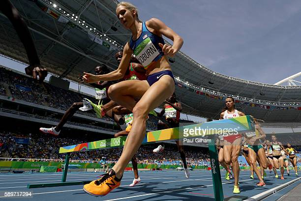 Emma Coburn of the United States competes in the Women's 3000m Steeplechase final on Day 10 of the Rio 2016 Olympic Games at the Olympic Stadium on...