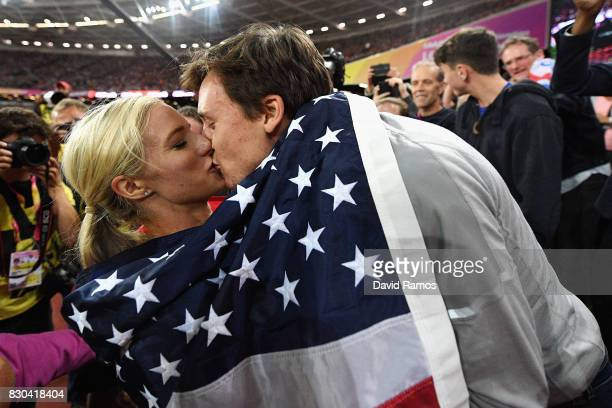 Emma Coburn of the United States gold celebrates with Joe Bosshard after the Women's 3000 metres Steeplechase final during day eight of the 16th IAAF...