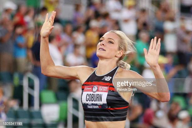Emma Coburn reacts as she crosses finish line in the Women's 3,000 Meter Steeplechase Final on day seven of the 2020 U.S. Olympic Track & Field Team...