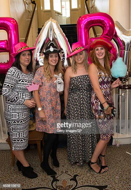 Emma Corbett, Laura Pearson, Lucy Hulls and Sam Hulls attend Sam Bailey's Baby Shower at The City Rooms on August 10, 2014 in Leicester, England.