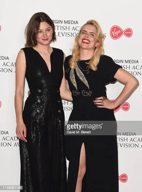 Emma Corin and Paloma Faith poses in the press room at the Virgin Media British Academy Television Awards at The Royal Festival Hall on May 12 2019...