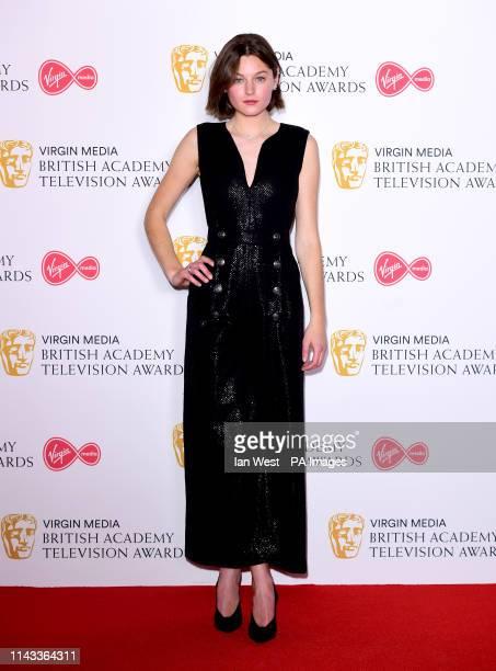 Emma Corin in the press room at the Virgin Media BAFTA TV awards held at the Royal Festival Hall in London