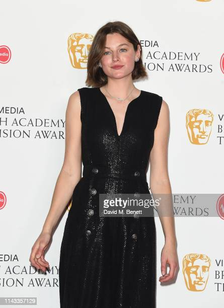 Emma Corin poses in the press room at the Virgin Media British Academy Television Awards at The Royal Festival Hall on May 12 2019 in London England