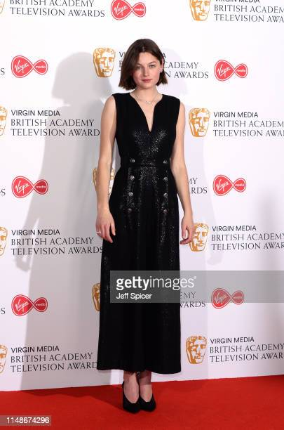 Emma Corin poses in the Press Room at the Virgin TV BAFTA Television Award at The Royal Festival Hall on May 12 2019 in London England