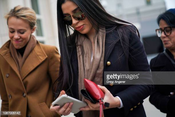Emma Coronel Aispuro the wife of Joaquin 'El Chapo' Guzman arrives at the US District Court for the Eastern District of New York January 23 2019 in...