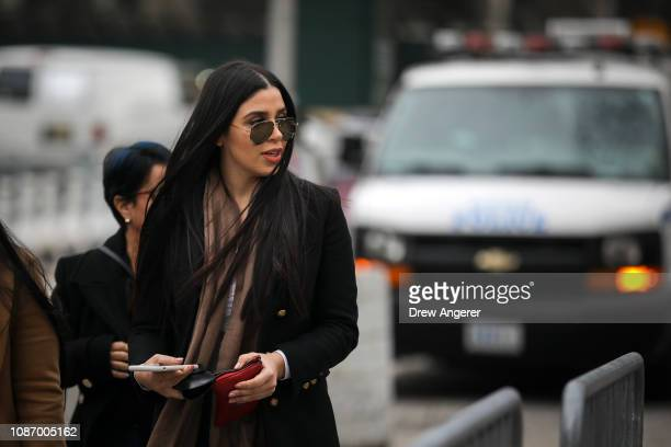 Emma Coronel Aispuro, the wife of Joaquin 'El Chapo' Guzman, arrives at the U.S. District Court for the Eastern District of New York, January 23,...