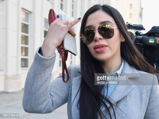 "Emma Coronel Aispuro, the wife of Joaquin ""El Chapo"" Guzman, arrives at the US Federal Courthouse in Brooklyn on January 30, 2019 in New York. - The..."