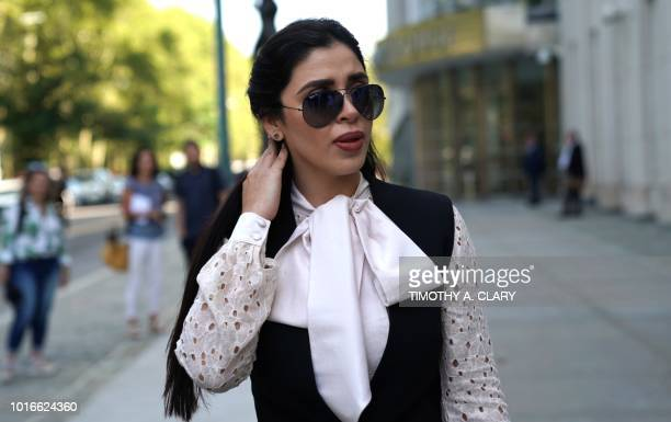 "Emma Coronel Aispuro, wife of accused Mexican drug lord Joaquin ""El Chapo"" Guzman, leaves after a pre-trial hearing at Brooklyn Federal Courthouse in..."