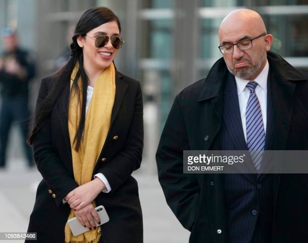 "Emma Coronel Aispuro, wife of Joaquin ""El Chapo"" Guzman, and attorney for Joaquin ""El Chapo"" Guzman, Eduardo Balarezo, depart the US Federal..."