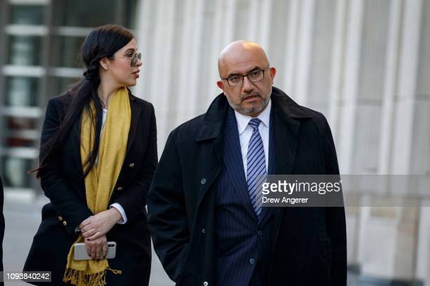 Emma Coronel Aispuro, wife of Joaquin 'El Chapo' Guzman, and Eduardo Balarezo, attorney for Joaquin 'El Chapo' Guzman, exit the U.S. District Court...
