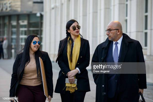 Emma Coronel Aispuro , wife of Joaquin 'El Chapo' Guzman, and Eduardo Balarezo , attorney for Joaquin 'El Chapo' Guzman, exit the U.S. District Court...
