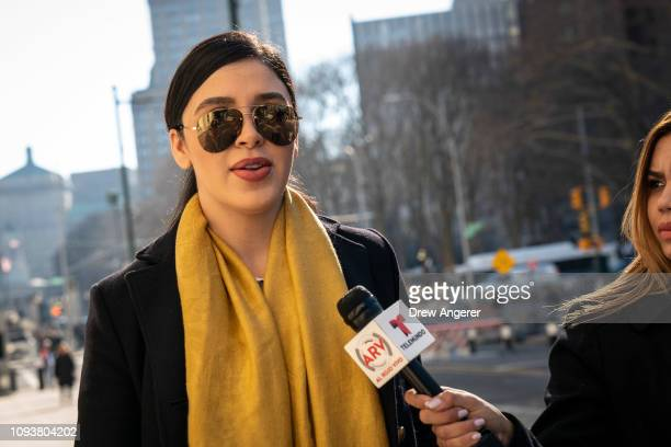 Emma Coronel Aispuro, wife of Joaquin 'El Chapo' Guzman, arrives at the U.S. District Court for the Eastern District of New York, February 4, 2019 in...
