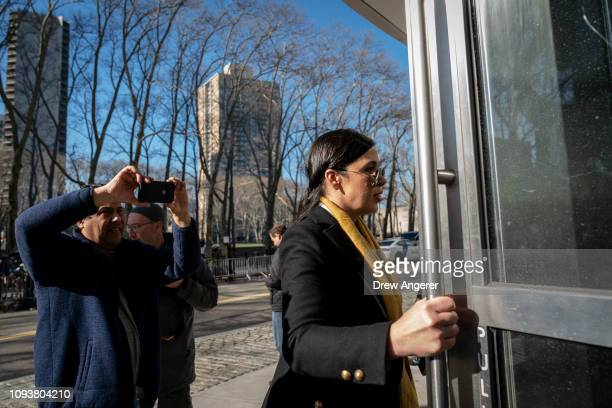 Emma Coronel Aispuro wife of Joaquin 'El Chapo' Guzman arrives at the US District Court for the Eastern District of New York February 4 2019 in the...