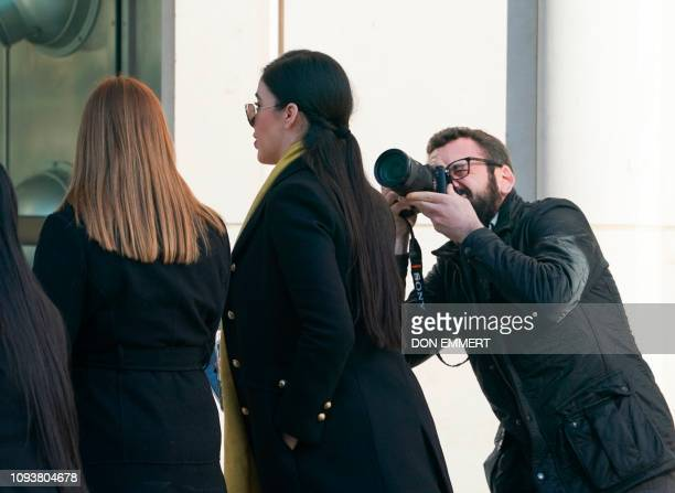 Emma Coronel Aispuro wife of Joaquin El Chapo Guzman arrives at the US Federal Courthouse February 4 2019 in Brooklyn New York The trial which began...