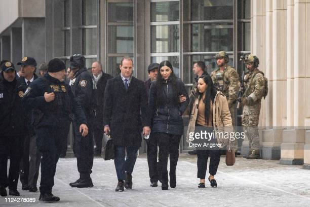 "Emma Coronel Aispuro, wife of Joaquin ""El Chapo"" Guzman, exits the U.S. District Court for the Eastern District of New York, February 12, 2019 in the..."