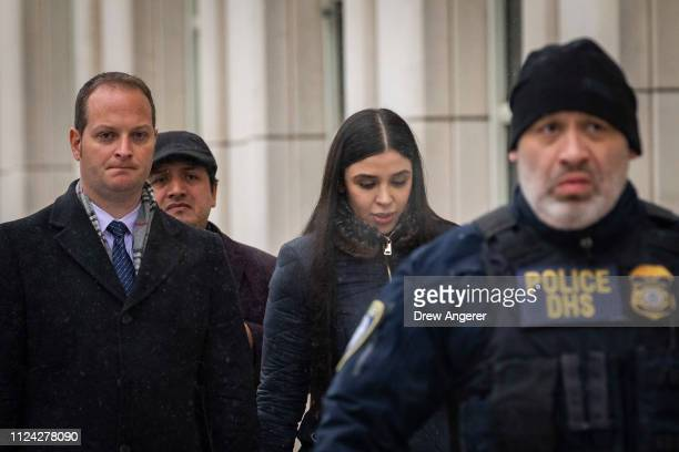 Emma Coronel Aispuro wife of Joaquin El Chapo Guzman exits the US District Court for the Eastern District of New York February 12 2019 in the...