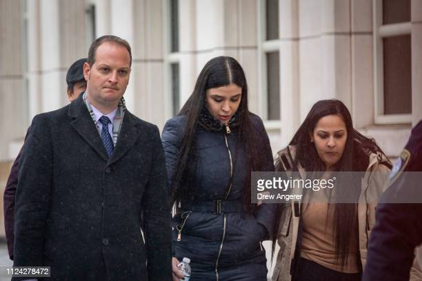Emma Coronel Aispuro wife of Joaquin 'El Chapo' Guzman exits the US District Court for the Eastern District of New York February 12 2019 in the...