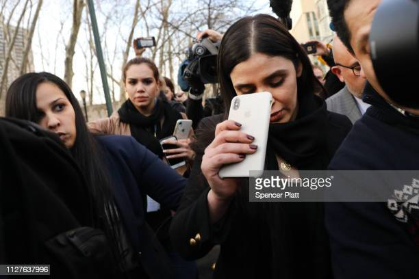 Emma Coronel Aispuro, wife of Joaquin 'El Chapo' Guzman, exits the U.S. District Court for the Eastern District of New York, February 5, 2019 in the...