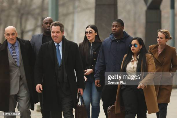 Emma Coronel Aispuro , wife of Joaquin 'El Chapo' Guzman, exits the U.S. District Court for the Eastern District of New York, February 7, 2019 in the...