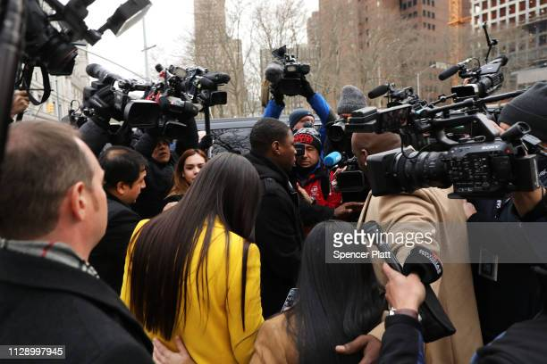 Emma Coronel Aispuro wife of Joaquin 'El Chapo' Guzman exits the US District Court for the Eastern District of New York February 11 2019 in the...