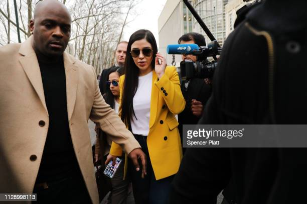 Emma Coronel Aispuro, wife of Joaquin 'El Chapo' Guzman, exits the U.S. District Court for the Eastern District of New York, February 11, 2019 in the...