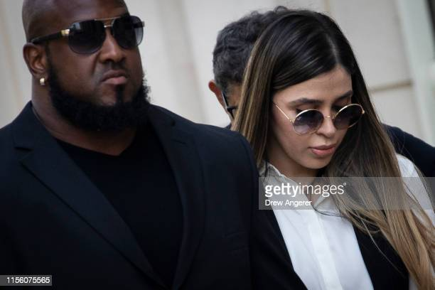 "Emma Coronel Aispuro, wife of Joaquin ""El Chapo"" Guzman, is escorted by security as she leaves federal court, July 17, 2019 in the Brooklyn borough..."