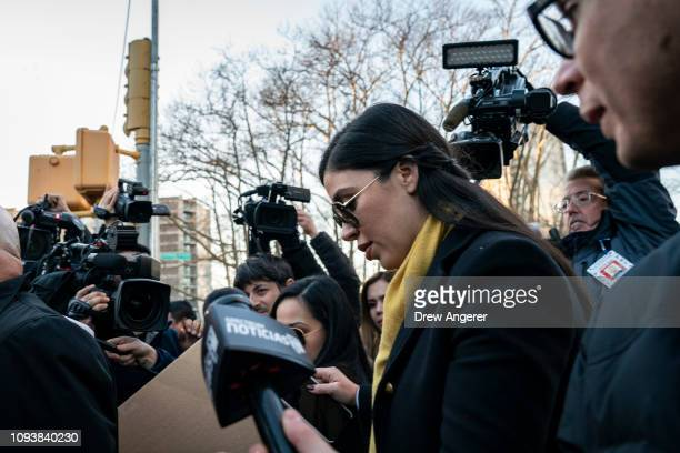 Emma Coronel Aispuro, wife of Joaquin 'El Chapo' Guzman, is surrounded by press as she exits the U.S. District Court for the Eastern District of New...