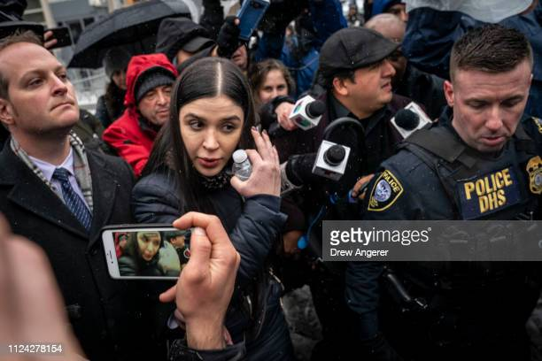 "Emma Coronel Aispuro, wife of Joaquin ""El Chapo"" Guzman, is surrounded by security and members of the press as she exits the U.S. District Court for..."