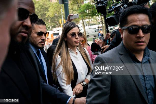 "Emma Coronel Aispuro, wife of Joaquin ""El Chapo"" Guzman, is surrounded by security as she arrives at federal court on July 17, 2019 in New York City...."