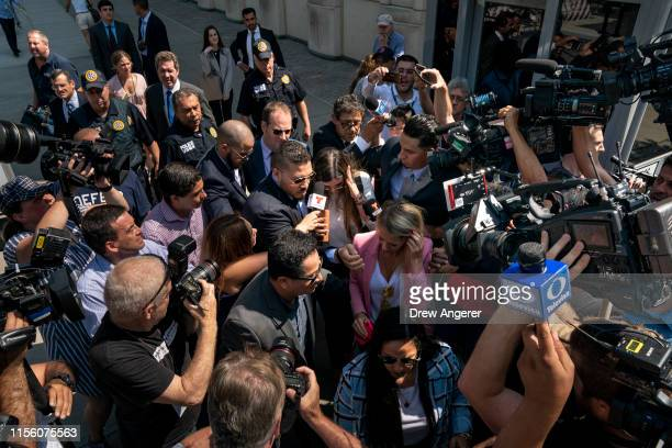 "Emma Coronel Aispuro, wife of Joaquin ""El Chapo"" Guzman, is swarmed by press as she leaves federal court, July 17, 2019 in the Brooklyn borough of..."