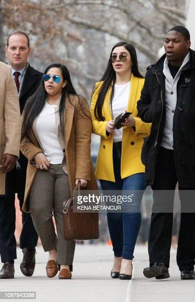 Emma Coronel Aispuro, wife of Joaquin 'El Chapo' Guzman leaves at the US Federal Courthouse on February 11 in Brooklyn, New York. - A New York jury...