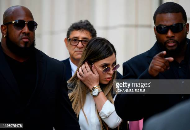 "Emma Coronel Aispuro, wife of Joaquin ""El Chapo"" Guzman walks out of Brooklyn Federal Court on July 17 after Mexican drug lord Joaquin ""El Chapo""..."