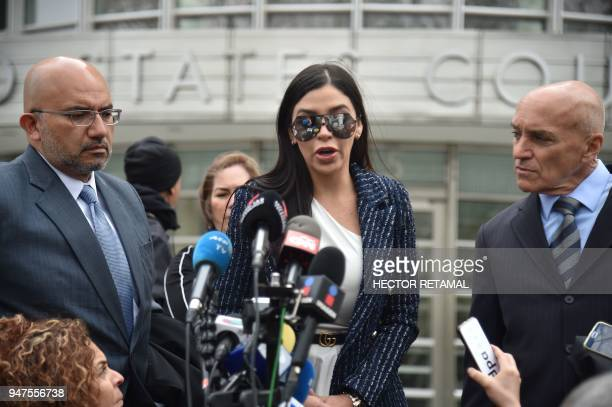 "Emma Coronel Aispuro , wife of the founder of the former Guadalajara Cartel Joaquín ""El Chapo"" Guzman, speaks outside federal court in New York on..."