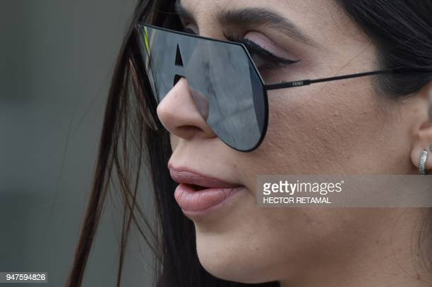 Emma Coronel Aispuro wife of the founder of the former Guadalajara Cartel Joaquín El Chapo Guzman outside federal court in New York on April 17 2018...