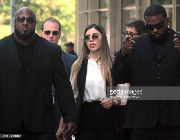 Emma Coronel Aispuro wife of the notorious drug lord El Chapo, leaves Brooklyn Federal Court surrounded by body guards after her husband was...