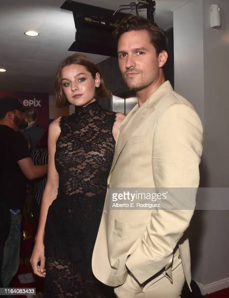 Emma Corrin and Ben Aldridge attend the premiere of Epix's Pennyworth at Harmony Gold on July 24 2019 in Los Angeles California