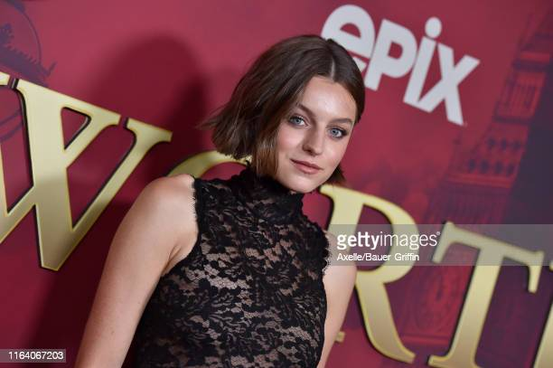 Emma Corrin attends the LA Premiere of Epix's Pennyworth at Harmony Gold on July 24 2019 in Los Angeles California