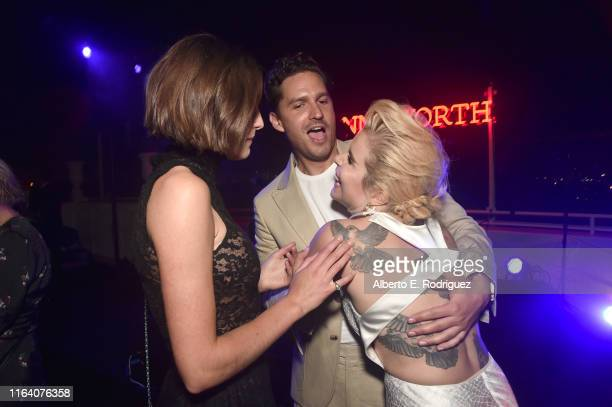 Emma Corrin Ben Aldridge and Paloma Faith attend the after party for the premiere of Epix's Pennyworth on July 24 2019 in Los Angeles California