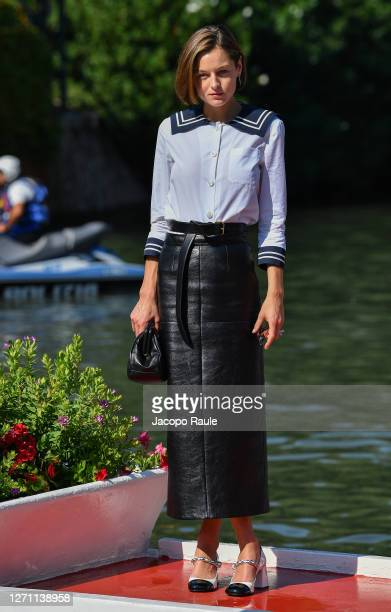 Emma Corrin is seen arriving at the Excelsior during the 77th Venice Film Festival on September 07, 2020 in Venice, Italy.