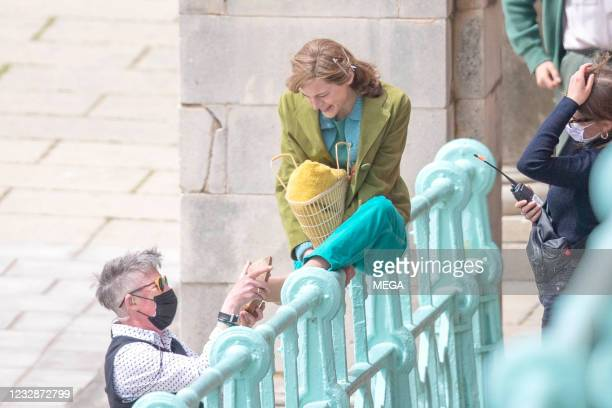 Emma Corrin is seen between takes as she films 'My Policeman' on May 13, 2021 in Brighton, England.