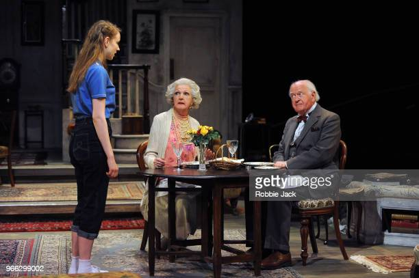 Emma Curtis as Laurel Penelope Keith as Mrs St Maugham and Oliver Ford Davies as the Judge in Enid Bagnold's The Chalk Garden directed by Alan...
