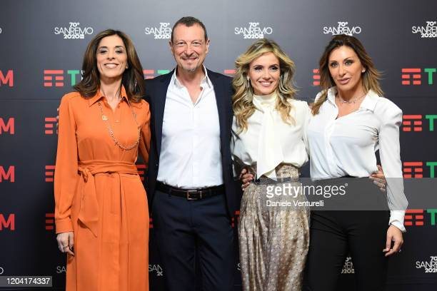 Emma D'Aquino Amadeus Laura Chimenti and Sabrina Salerno attend a photocall at the 70° Festival di Sanremo at Teatro Ariston on February 05 2020 in...