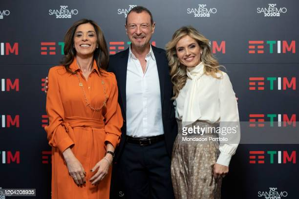 Emma D'Aquino Amadeus Laura Chimenti in the Press Room of the 70 Sanremo Music Festival Sanremo February 5th 2020