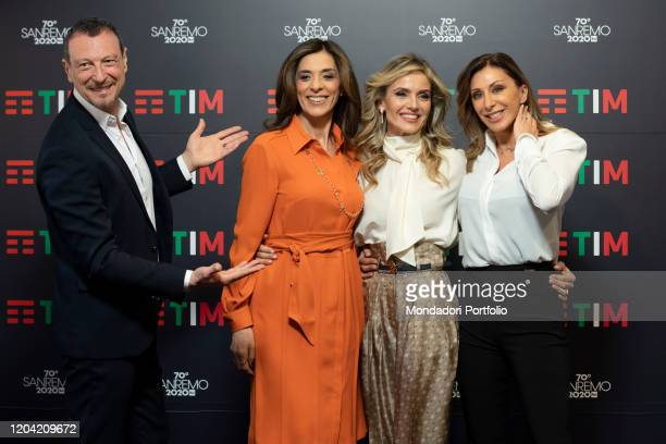 Emma D'Aquino Amadeus Laura Chimenti Sabrina Salerno in the Press Room of the 70 Sanremo Music Festival Sanremo February 5th 2020