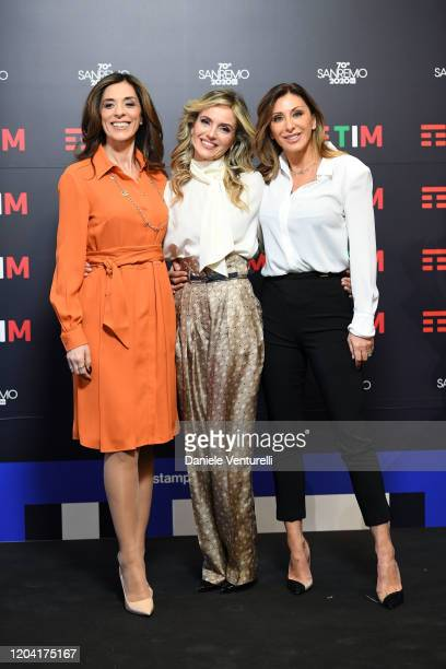 Emma D'Aquino Laura Chimenti and Sabrina Salerno attend a photocall at the 70° Festival di Sanremo at Teatro Ariston on February 05 2020 in Sanremo...
