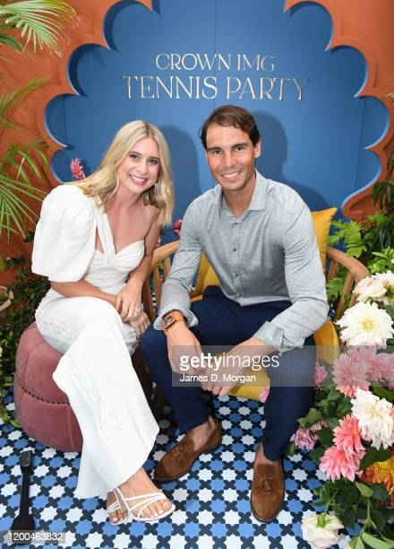Emma Davenport and Rafael Nadal attend the Crown IMG Tennis Party on January 19, 2020 in Melbourne, Australia.