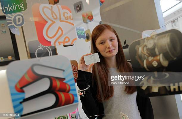 Emma Davis 17 from Orpington in Kent poses for pictures at the Apple Store in the Bluewater Shopping Centre after winning the App Store Countdown to...