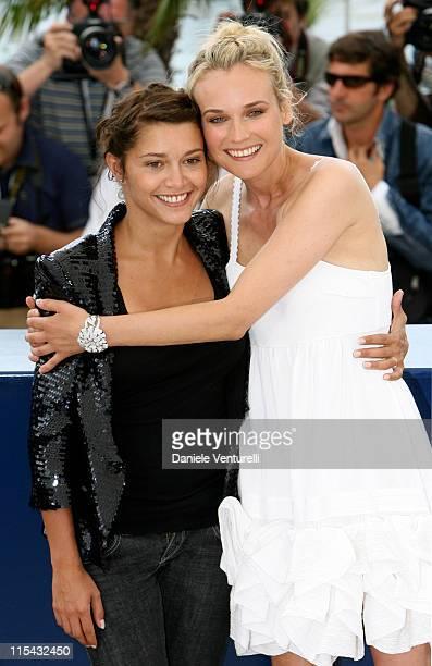 Emma de Caunes and Diane Kruger during 2007 Cannes Film Festival L'Age des Tenebres Photocall at Palais des Festivals in Cannes France